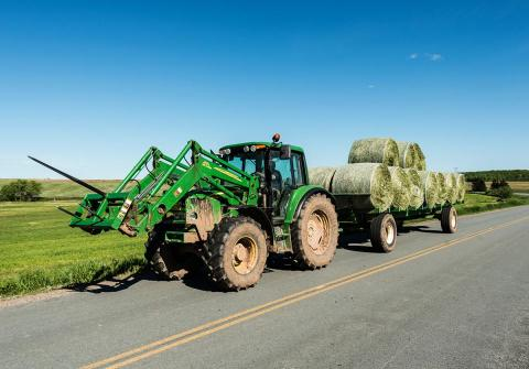 Hay bales on trailer