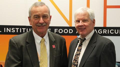 Chuck Hibberd (left), dean and director of Nebraska Extension, poses with J. Scott Angle, director of the National Institute of Food and Agriculture, during the NIFA Hall of Fame ceremony April 25 in Washington, D.C. (USDA-NIFA)