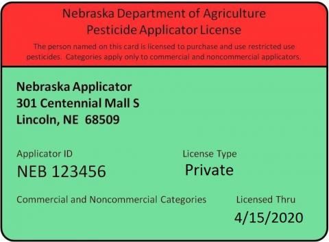 Sample pesticide applicator card