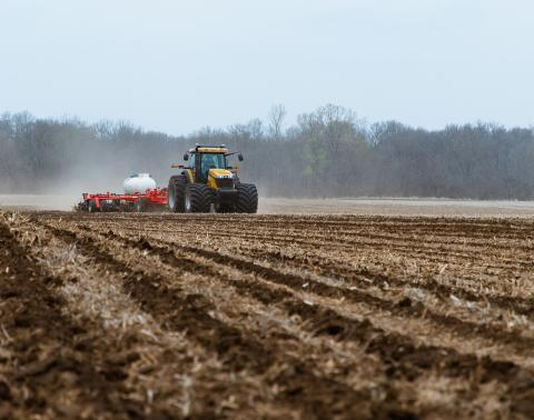 Anhydrous ammonia being applied in a field