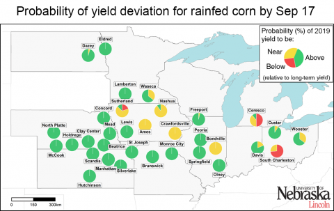 Map showing probability of deviation from normal yields for rainfed sits in Nebraska and Kansas