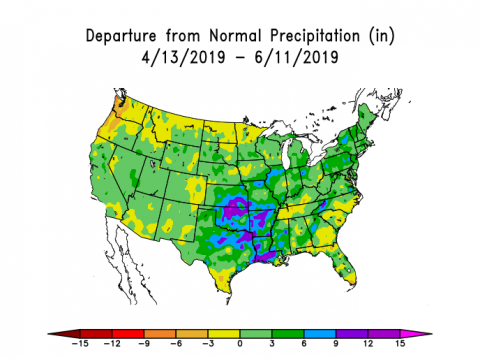 US map showing departure from normal precipitation from April 13 to June 11, 2019