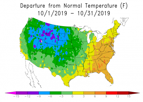 US map showing October 2019 departure from normal temperatures.