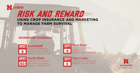 Schedule of Nebrask Extension Risk and Reward ag workshops