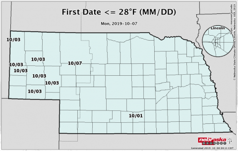 Nebraska map showing locations and dates of first hard freezes.