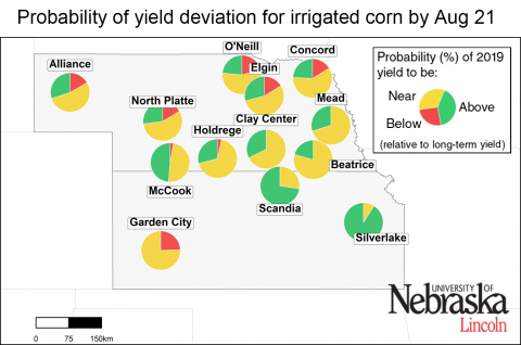Map showing likelihood of yield deviation from the long-term average yield potential for irrigated corn sites in Nebraska and Kansas.