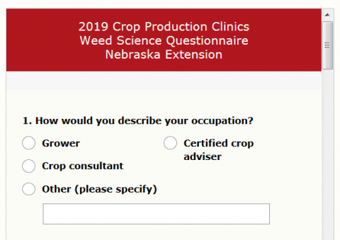 Snippet of the Weed Science Survey