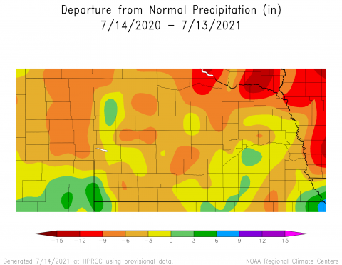 Annual departure from normal precipitation map