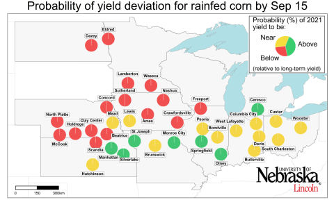 2021 corn yield forecast for midwestern states